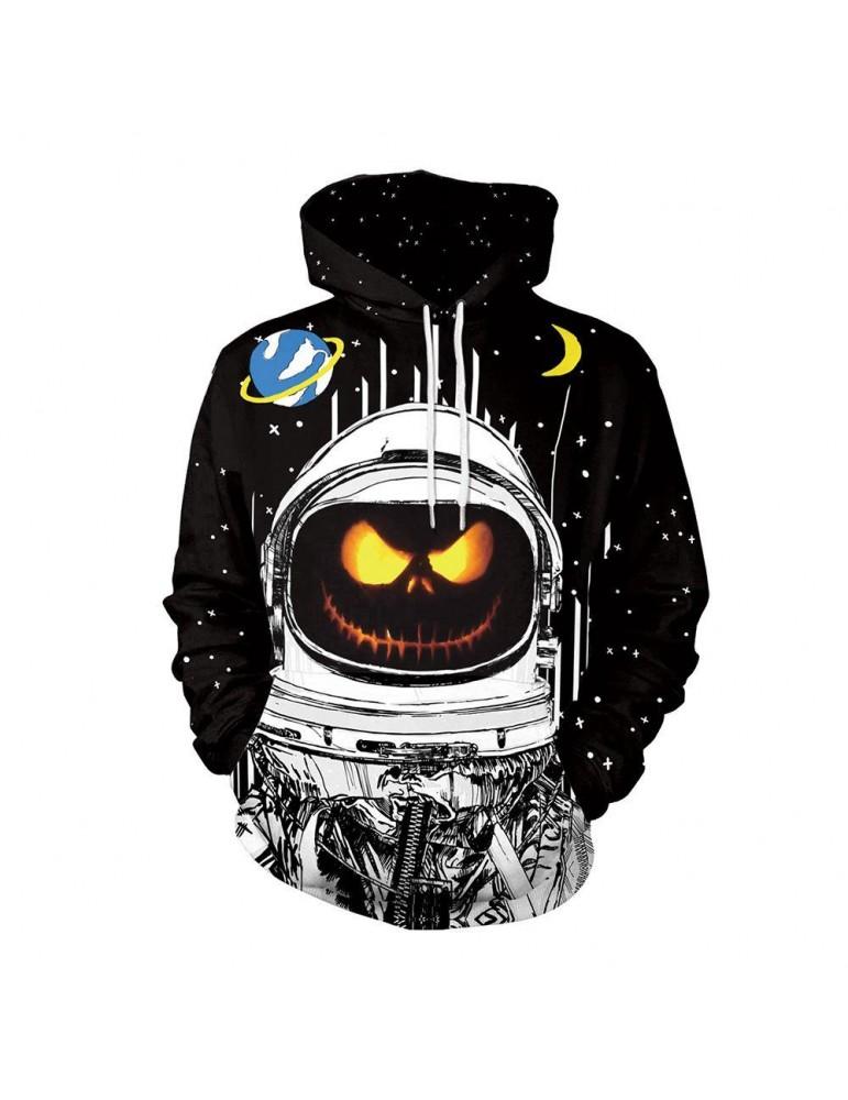 3D Digital Printed Halloween Series Pumpkin Astronaut Pattern Unisex Long Sleeve Pullover Hoodie Size M - Black
