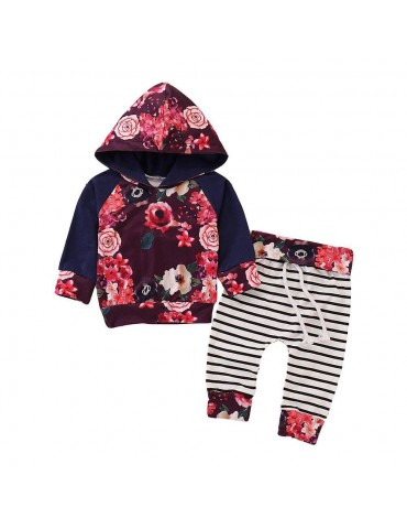 HZ50060 Kids Girls Rose Pattern Two-piece Set (Hooded Long Sleeve Hoodie + Striped Trousers Size 80) - Multicolor