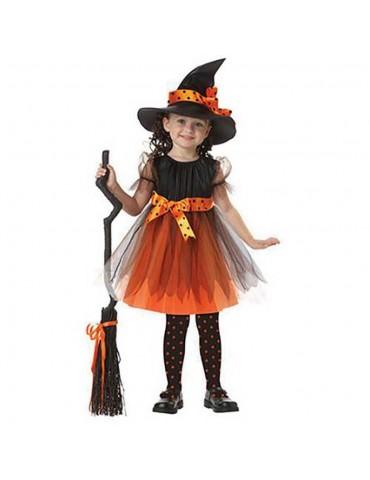 Halloween Costume Party Girls Cosplay Costume Dress Children's Dress Smock 140cm - Orange