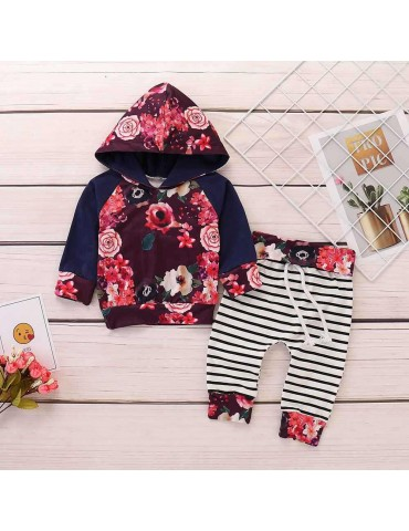 HZ50060 Kids Girls Rose Pattern Two-piece Set (Hooded Long Sleeve Hoodie + Striped Trousers Size 90) - Multicolor