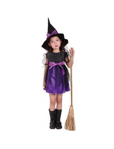 Halloween Costume Party Girls Cosplay Costume Dress Children's Dress Smock 150cm - Purple
