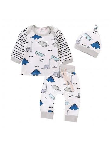 HZ50061 Kids Boys Girls Funny Animal Pattern Three-piece Set (Long-sleeve Shirt + Hat + Casual Pants Size 100) - White